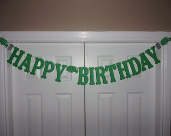 HAPPY BIRTHDAY Garbage Truck, Can Letter Banner - Green, Medium Grey Cardstock Paper Boy Party Wall Sign