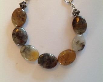 Silver Leaf Quartz Stone Bracelet