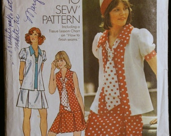 Simplicity 6085 Misses Short Dropped Waist Dress and Jacket Vintage 70s Sewing Pattern Sz 12