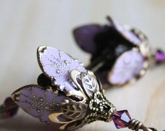 Purple Flower Earrings, Crystal Earrings, Bell Flower Earrings, Floral Earrings, Flower Jewelry, Filigree Earrings, Brass Earrings