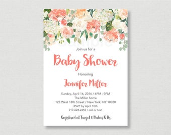 Peach Floral Baby Shower Invitation / Floral Baby Shower Invite / Watercolor Floral Invite / Peach & Cream / Spring Floral / PRINTABLE A163