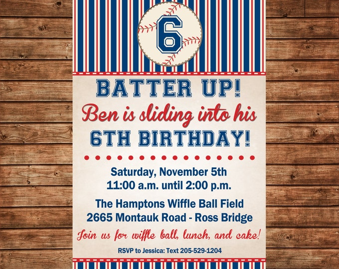 Boy Invitation Vintage Baseball Wiffle Ball Birthday Party - Can personalize colors /wording - Printable File or Printed Cards