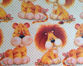 Vintage Gift Wrapping Paper - Juvenile Birthday - Lambert the Lion - Lions and Mouse Animal Paper - 1 Unused Full Sheet Birthday Gift Wrap