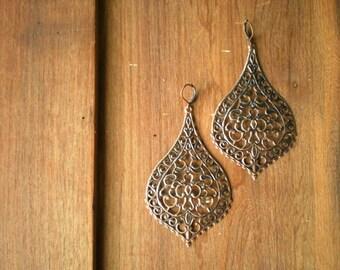 Pradesh Oversized Antique Copper Moroccan Paisley Earrings