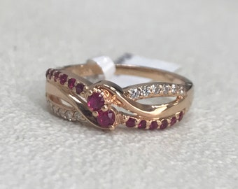 14K Rose Gold Ruby and Diamond Ring Free Shipping