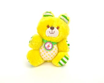 Jelly Bear the Teddy Bear Stuffed Animal | Vintage Strawberry Shortcake Stuffed Pet | Friend of Butter Cookie Plush Animal | Kenner Plushie