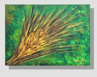 """Peinture abstraite à l'huile sur toile. """"Maturité dynamique"""", petit tableau contemporain vert, jaune, effet épi. cadeau maison. home decor"""