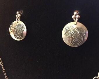 Newgrange Triskle Earrings, fine silver.