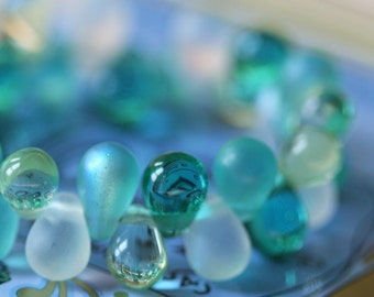 Dewdrop Glass 4x6mm Teardrop Bead Mix - Jewelry  Making Supplies -  4 colors - 25 each (100 Drops)