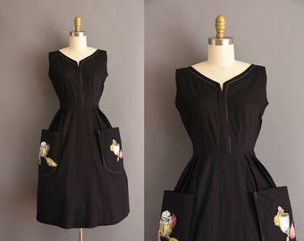 50s black cotton novelty Fruit full skirt vintage dress Small 1950s black vintage dress
