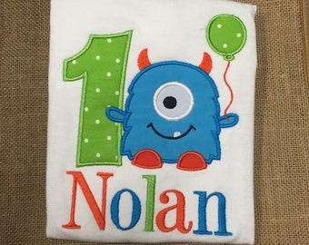 First Birthday Monster Shirt Applique, First Birthday, Monster with balloon