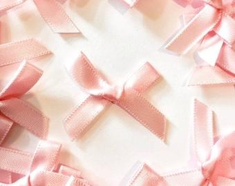 25 Pink Mini Fabric Satin Bows 7mm  - Card Making Embellishments Craft Sewing