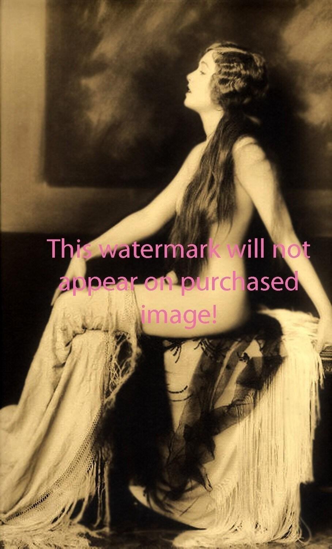 exotic semi nude vintage photo reprint mature