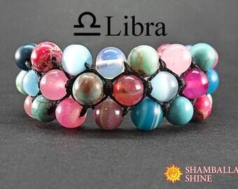 Stone personalized jewelry Gem bracelet Custom birthday gift Colorful beads bracelet Exclusive jewelry Libra zodiac Meditation stone jewelry