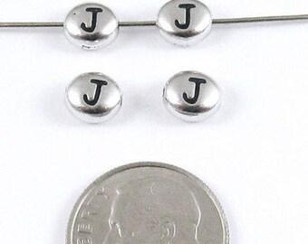 "TierraCast Pewter Oval Pebble Alphabet Beads-Rhodium Silver Letter ""J"" (4)"