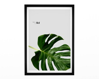 Leaf Art, scandinavian print, Large Palm Leaf Print, Leaf Poster, Palm Leaf Art, Large Palm Wall Print. Poster, Typographic Art, Art House,