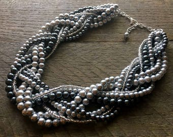 Silver Grey Pearl Statement Necklace, Multi Strand Wedding Necklace, Chunky Braided Necklace on Silver Chain