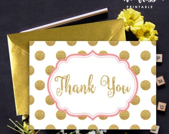 Pink and Gold Glitter Thank You Card | Polka Dot | Printable Instant Download