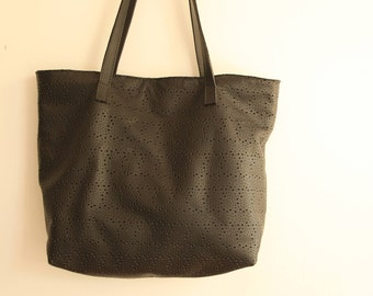 Black Leather Tote, Black Leather Bag, Black Perforated Leather Tote Bag, Black Leather Tote Women, Punched Leather Tote Bag, Handbag