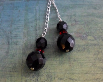 BLACK & RED Faceted French Jet and Swarovski Crystal  Lariat / Tie NECKLACE / Simple / Lariat Necklace / Unique Gift for Her / Gift boxed