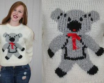 Vintage 80s Novelty Teddy Bear Chunky Hand Knit Sweater Jumper Shirt Top M L