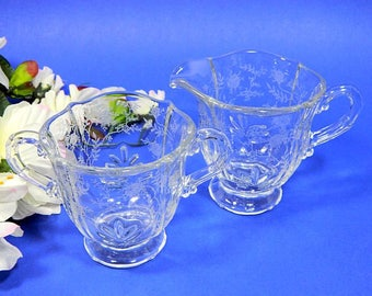 Elegant Glass Fostoria Chintz Baroque Creamer and Sugar Etched Roses