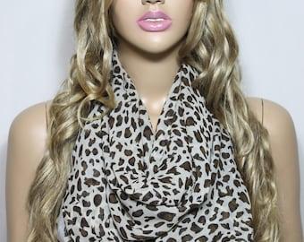 Infinity Scarf, Silky Chiffon So Soft Lightweight Cheetah Scarf, Loop Scarf, Animal Print Scarf For Her-ESCHERPE