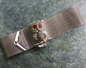 Sarah Coventry Mesh Owl Bracelet, Owl, Mesh, Silver Tone, Mid Century Bracelet, Sarah Coventry