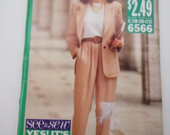 90s jacket / Pleated pants /Long jacket / elastic waist/1990s vintage sewing pattern, Size 18 20 22, Bust 40 42 44, Butterick See & Sew 6566