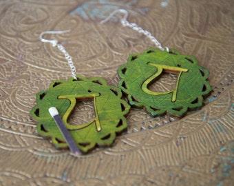 Boucles d'oreilles de chakra - 4ème Chakra - Anahata - vert Chakra Yoga boucles d'oreilles bijoux - Boucles d'oreilles arc en ciel New Age Chakra boucles d'oreilles en Yoga