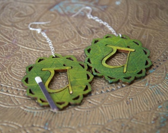 Chakra Earrings - 4th Chakra Jewelry - Anahata - Green Chakra Yoga Earrings - New Age Rainbow earrings  Chakra Earrings Yoga Earrings