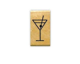 sm. Martini Glass mounted rubber stamp cosmo alcoholic drink, party, New Years Eve, daily planner date night, celebration No.2