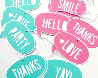 Speech Bubble gift tags Turquoise or Bright Pink. Callout tags. Hello Love Happy Smile You Rock Thanks Merry Yay! Party OMG LOL WTF Ho Ho Ho