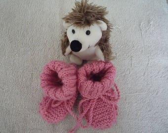 Hot pink baby booties