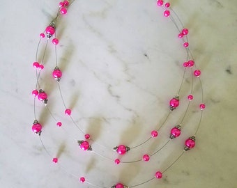 Floating Necklace, Bridal Illusion Necklace, Wedding Necklaces, Hot Pink Pearl Beaded, Mother of the Bride, Bridal Jewelry, Mother's Day