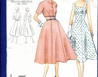 Vogue 2267 Mid Century FItted Bodice Flared Dress & Bolero Pattern Size 14 UNCUT
