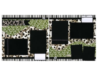 Soccer Scrapbook Page Set - Two 12x12 Coordinating Pages