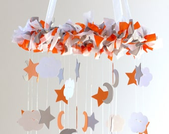 Star, Moon & Cloud Nursery Mobile in Orange, Gray, White