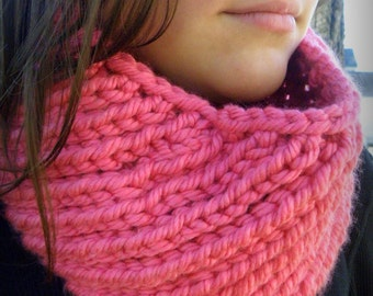 Hand Knit Cowl Infinity Scarf, Bias Ribbed HOT PINK   - Breast Cancer Awareness (1029)