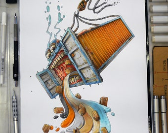 Container FAIL, a Copic markers original illustration (collection 2018)