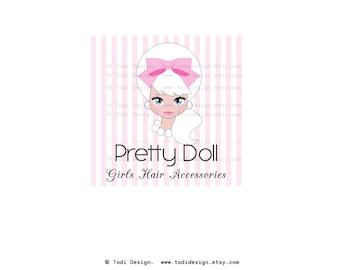 SALE Premade Logo design-Pretty Doll Logo Design - Chic Logo Design -  Girl design - Boutique - accessories