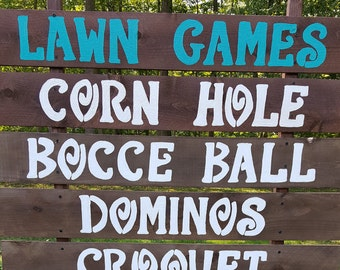 5FT tall lawn games sign , rustic weddings signs , yard games signs , corn hole sign , back yard games , birthday party game signs , signs