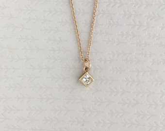 14k Gold Moissanite Necklace   3mm Princess Cut Moissanite Necklace   18 inch chain with spring ring clasp   gift for her   Ready to ship