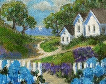 "Houses Hydrangeas Ocean Sea Summer Path Original signed Acrylic Painting square 4""x 4""x 1.5"""