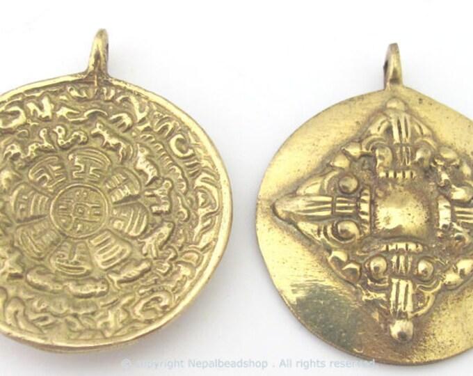 3 pendants -  42 mm Tibetan Om with calendar timeline wheel Solid Brass pendant and reverse side double dorje - CP085
