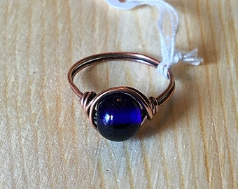 Wire Wrapped Blue Glass Ring
