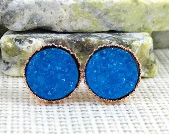 Bermuda Blue Druzy Earrings - Druzy - Stud Earrings - Druzy Jewelry - Earrings - Bridesmaid Gift - Blue Druzy Earrings - Drusy - Bridesmaids