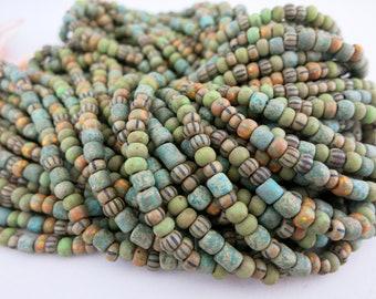6/0 Rustic Moss Czech Beads, Full Strand 200 Beads, 4mm Matte Czech Glass Seed Beads