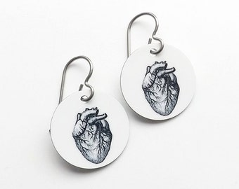 Anatomical Heart Anatomy Earrings graduation medical student jewelry gift brain skull halloween doctor nurse physician assistant accessory