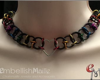 """BDSM Discrete Day Collar, Slave Collar, Submissive Heart Collar, Gorean Kajira / Slave Collar, Personalize this """"Lucid"""" pattern to suit you!"""